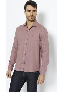 Camisa Slim Fit Pied De Poule - Vermelha & Cinza Clarovip Reserva