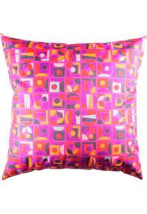 Capa De Almofada Abstrata- Pink & Laranja- 42X42Cm