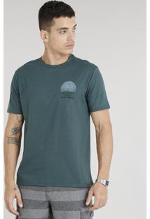 "Camiseta Masculina ""Live Simply"" Manga Curta Gola Careca Verde"