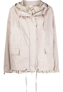 Moncler Hooded Oversized Jacket - Neutro