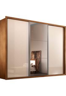 Guarda-Roupa Casal Kit Espelho Com 3 Portas E 6 Gavetas Buriti-Rufato - Imbuia / Off White