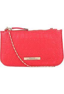 Bolsa Colcci Mini Bag Tiracolo Alça Corrente Placa Feminina - Feminino-Vermelho