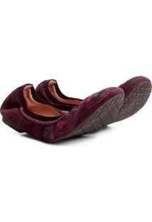 Sapatilha Couro Shoestock Bordado Flor Feminina - Feminino-Bordô