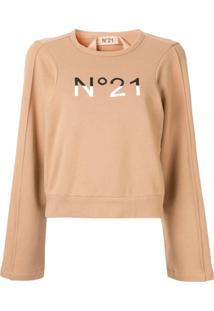 Nº21 Blusa De Moletom Com Logo Bordado - Marrom