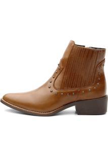 Bota Ankle Boot Couro Venetto Feminina Country Caramelo - Tricae