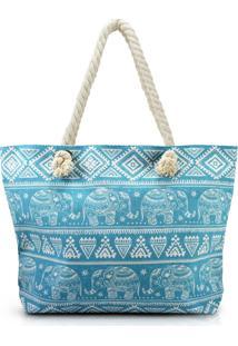 Bolsa De Praia Estampada Com Alça De Corda Jacki Design Turquesa Elefante - Kanui