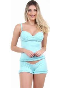 Pijama Short Doll Baby Doll Imi Lingerie Camisete Sexy Em Microfibra Toque Suave Feminino - Feminino-Verde
