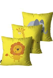 Kit Mdecore Com 3 Capas Para Almofada Infantil Animais Amarelo 45X45Cm