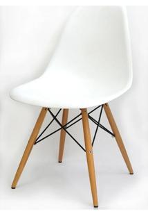 Cadeira Eames Polipropileno Branco Fosco Madeira -10255