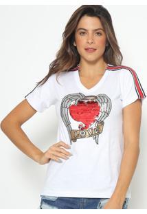 Blusa Com Bordado Coraã§Ã£O- Branca E Vermelha- Fashiofashion 500