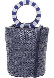 Bolsa Transversal Em Palha Tranã§Ada- Azul Escuro & Brancschutz