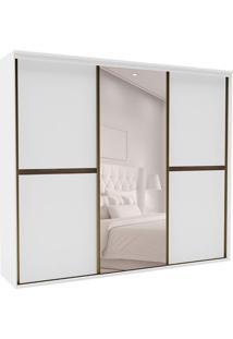 Guarda-Roupa Casal Com Espelho Sofisticato Ll 3 Pt 6 Gv Branco