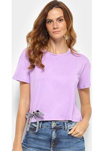 Camiseta Forwhy Ilhós Barra Feminina - Feminino-Lilás