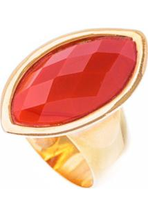 Anel Obietto Ouro Banho 18K Jaspe Vermelha Navette