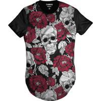 4f4898d5c Camiseta Di Nuevo Swag Caveira Mexicana Florida Rosas Vermelhas Preta