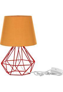 Abajur Diamante Dome Laranja Com Aramado Vermelho - Laranja - Dafiti