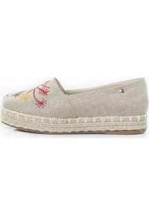 Alpargatas Flatform Vegano Shoes Margarida Nude Bordada Bege