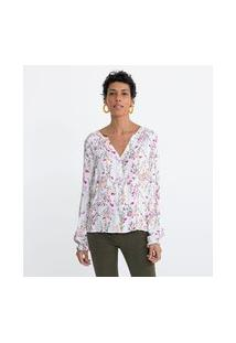 Camisa Manga Longa Em Viscose Estampa Floral Lastex No Ombro E No Punho | Marfinno | Branco | Pp
