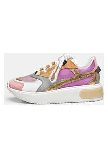 Sneaker Smidt S415 - Rosa, Silver, Roxo & Ouro Rosa