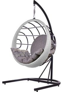 Poltrona De Balanco Bowl Em Aluminio Revestido Em Corda Cor Prata Com Suporte De Chao - 45215 - Sun House