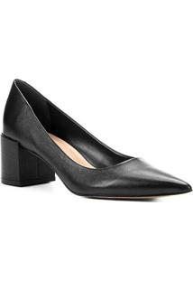 Scarpin Couro Shoestock Salto Médio Basic - Feminino-Preto