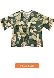 Camisa Plus Size De Viscose Secret Glam Verde