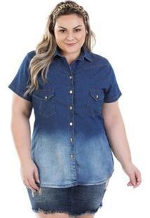 Camisa Jeans Vinil Com Bolso E Elastano Feminina - Feminino-Azul