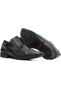 Sapato Social Em Couro Quebec Feet Cadarço Masculino Preto - Masculino-Preto