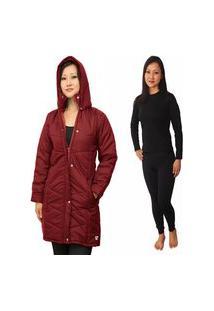 Casaco Acolchoado Feminino Impermeável + Calça Térmica Frio Intenso Até -25 Graus C Neve Vermelho Escuro