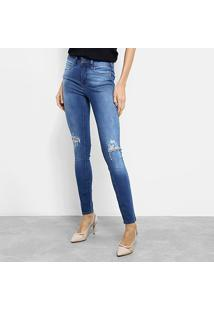 Calça Jeans Skinny Colcci Estonada Rasgo Joelho Cintura Média Feminina - Feminino-Azul