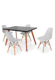 Conjunto Mesa De Jantar Gih 120X80Cm Preta Com 4 Cadeira Eames Eiffel - Cinza