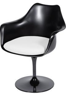 Poltrona Saarinen Com Braço E C/ Almofada – Or Design - Preto / Branco