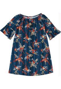 Vestido Azul Marinho Ciganinha Floral