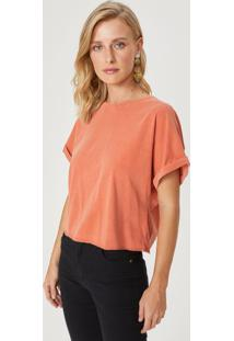 Amaro Feminino T-Shirt Cropped Ampla Decote Costas, Pessego