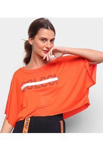 Camiseta Colcci Cropped Logo Linha Feminina - Feminino-Laranja
