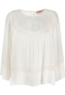 Twin-Set Blusa De Algodão Com Bordado De Renda - Branco