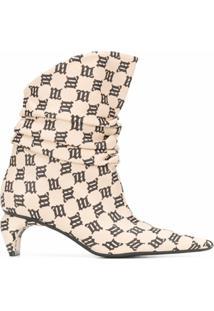Misbhv Ankle Boot Ibiza Com Estampa Monogramada - Rosa