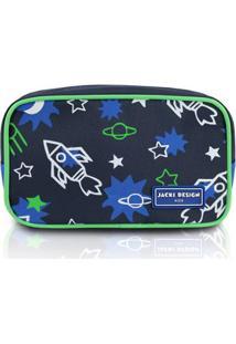 Necessaire Infantil Jacki Design Foguete Microfibra Masculino - Masculino-Marinho+Verde