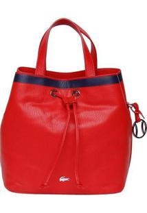 Bolsa Saco Em Couro Com Listra- Vermelha & Azul Marinho
