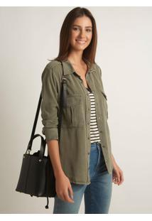 Camisa Le Lis Blanc Tencel Sarja Verde Militar Feminina (Verde Militar, 48)