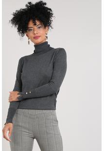 Suéter Feminino Em Tricô Com Botões Gola Rolê Cinza Mescla Escuro