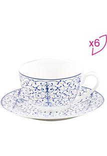 Jogo De Xícaras Para Chá Abstract- Branco & Azul- 6Projemac