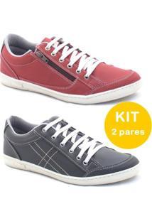 Kit Sapatenis Dexshoes Com Ziper - Masculino-Vermelho+Preto