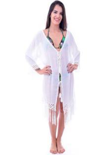 Saída De Praia Shopping Bali Com Franja - Feminino-Branco