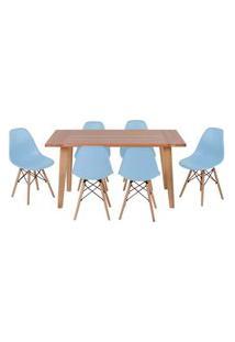 Conjunto Mesa De Jantar Em Madeira 150X80 Vértice + 6 Cadeiras Eiffel - Azul Claro