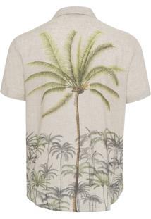 Camisa Masculina Com Mangas Palmeiras - Bege