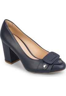 Sapato Tradicional Com Recorte Frontal- Azul Marinhocapodarte