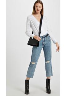 Calca Boyfriend Com Ziper Aplicado Jeans - 42