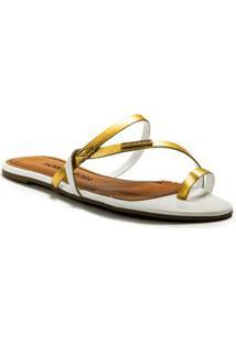 Sandalia Rasteira Tiras A Fio Dourado