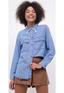 Camisa Jeans Com Gola Desfiada